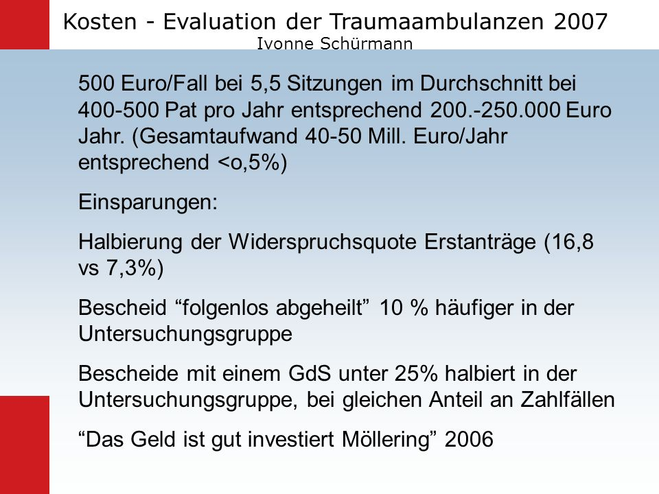 Kosten - Evaluation der Traumaambulanzen 2007 Ivonne Schürmann
