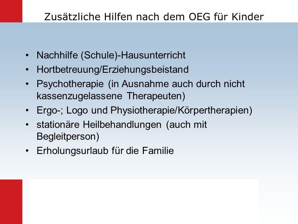 Zusätzliche Hilfen nach dem OEG für Kinder