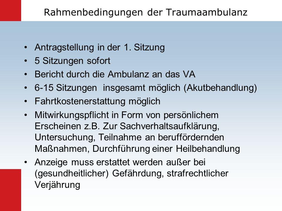 Rahmenbedingungen der Traumaambulanz