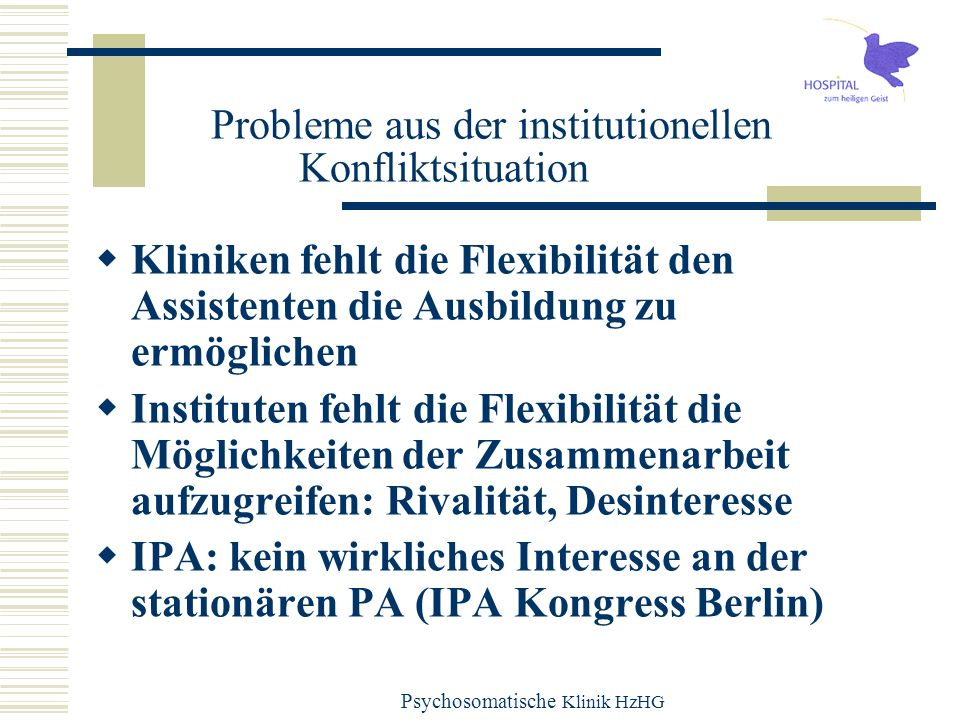 Probleme aus der institutionellen Konfliktsituation