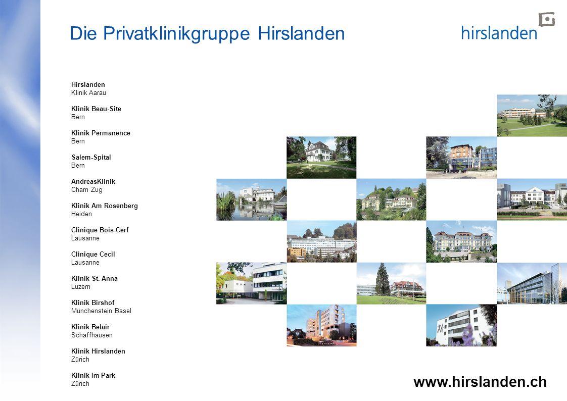"""Herzlichen Dank www.hirslanden.ch Seite """"Herzlichen Dank"""