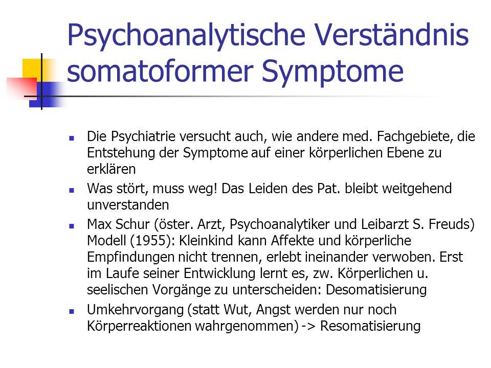 Psychoanalytische Verständnis somatoformer Symptome