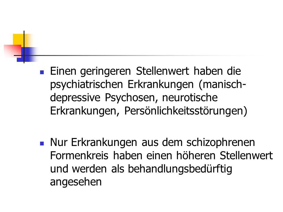 Einen geringeren Stellenwert haben die psychiatrischen Erkrankungen (manisch-depressive Psychosen, neurotische Erkrankungen, Persönlichkeitsstörungen)
