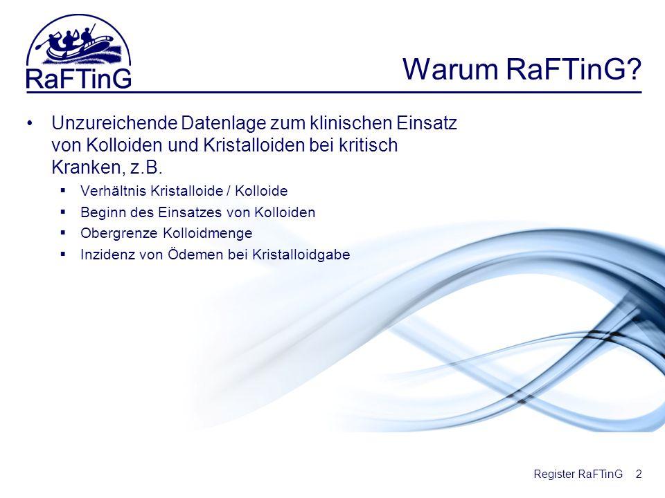 Warum RaFTinG Unzureichende Datenlage zum klinischen Einsatz von Kolloiden und Kristalloiden bei kritisch Kranken, z.B.