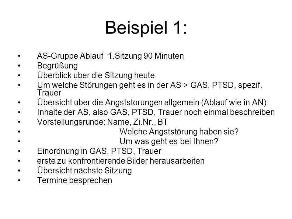 Beispiel 1: AS-Gruppe Ablauf 1.Sitzung 90 Minuten Begrüßung