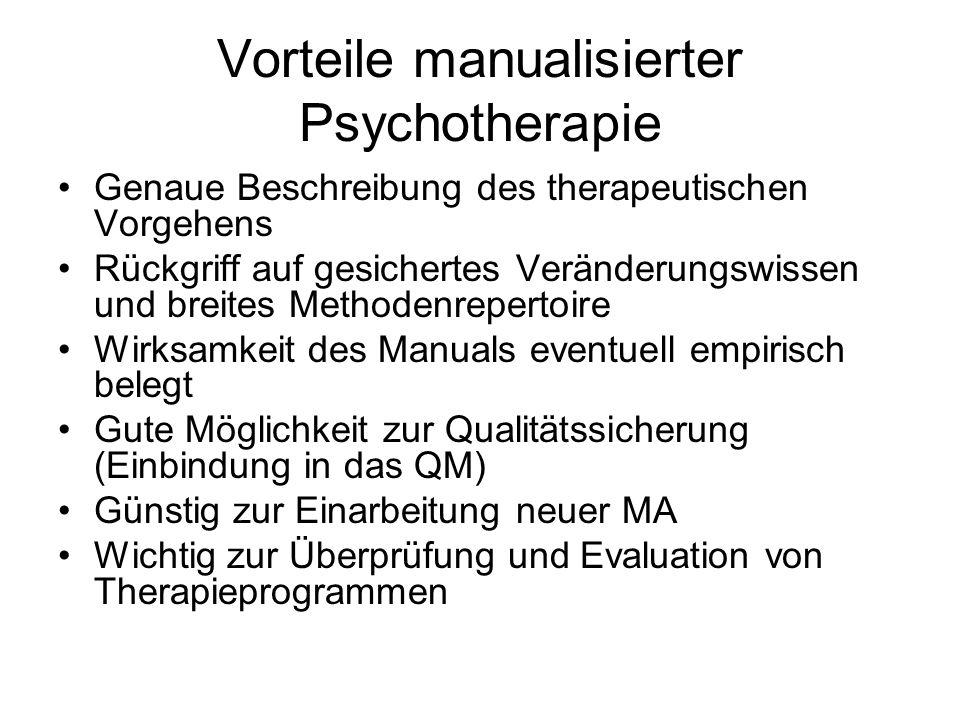 Vorteile manualisierter Psychotherapie
