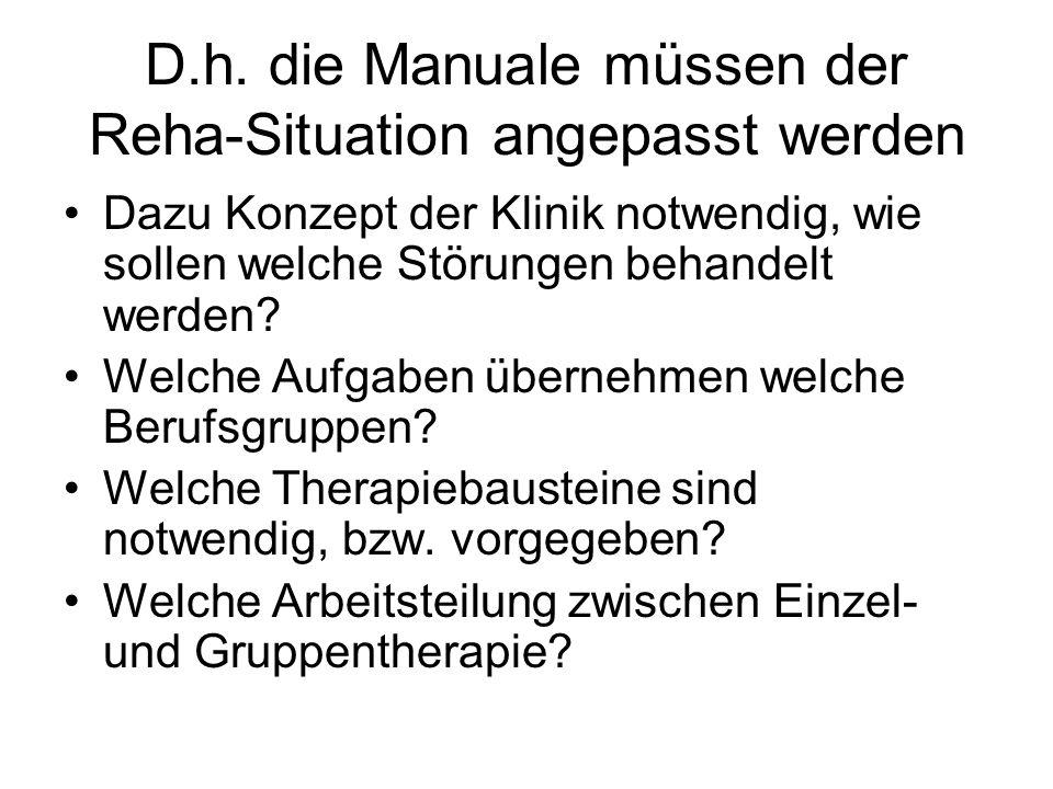 D.h. die Manuale müssen der Reha-Situation angepasst werden