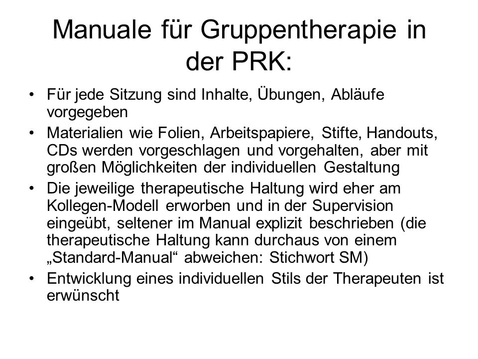 Manuale für Gruppentherapie in der PRK: