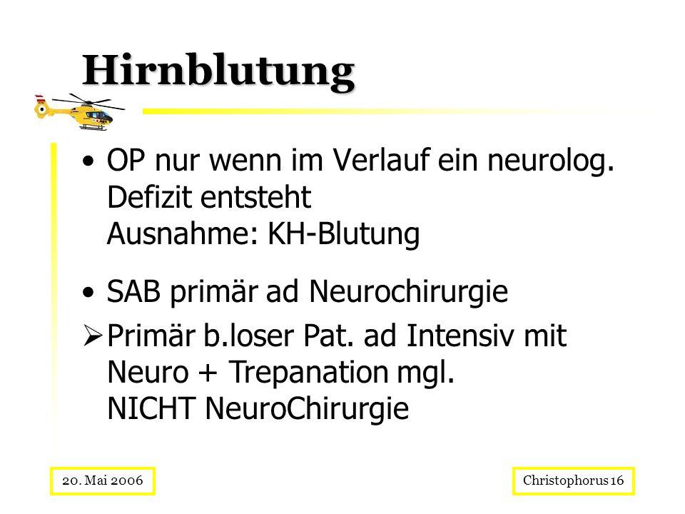 Hirnblutung OP nur wenn im Verlauf ein neurolog. Defizit entsteht Ausnahme: KH-Blutung. SAB primär ad Neurochirurgie.