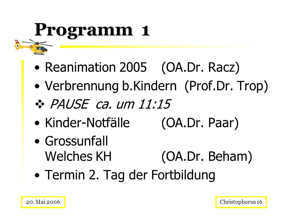 Programm 1 Reanimation 2005 (OA.Dr. Racz)
