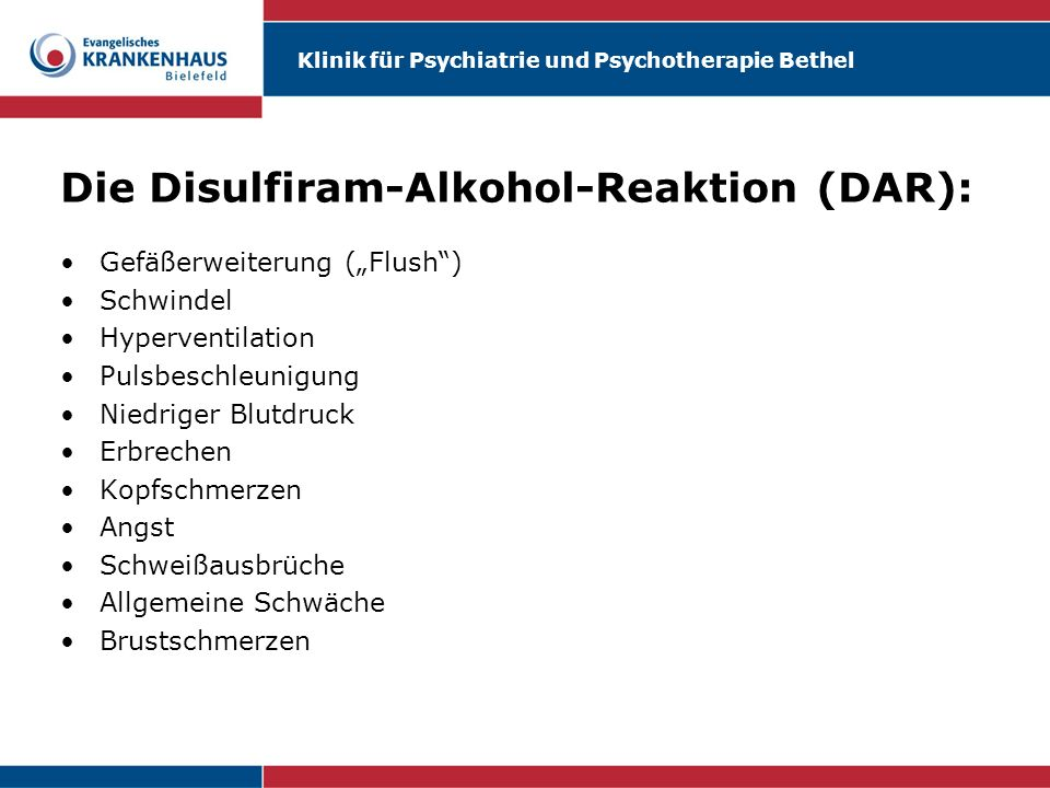 Die Disulfiram-Alkohol-Reaktion (DAR):