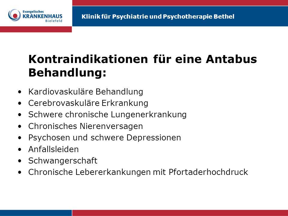 Kontraindikationen für eine Antabus Behandlung: