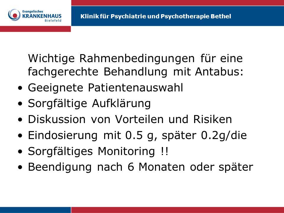 Wichtige Rahmenbedingungen für eine fachgerechte Behandlung mit Antabus:
