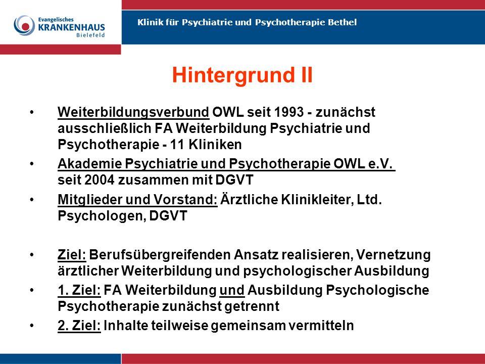 Hintergrund II Weiterbildungsverbund OWL seit 1993 - zunächst ausschließlich FA Weiterbildung Psychiatrie und Psychotherapie - 11 Kliniken.