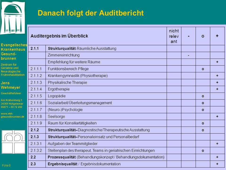 Danach folgt der Auditbericht
