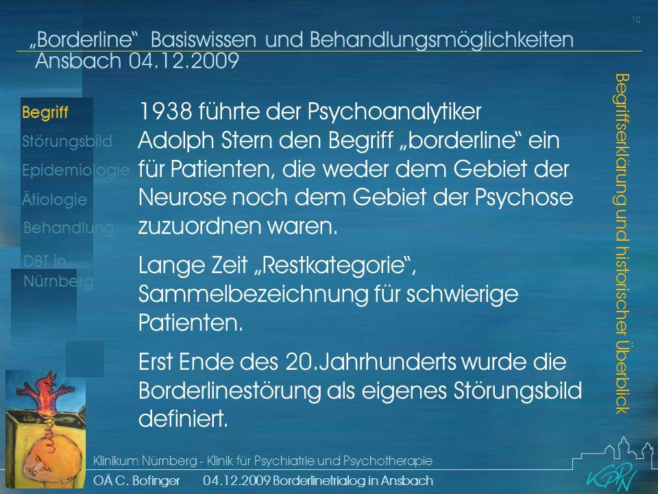 """1938 führte der Psychoanalytiker Adolph Stern den Begriff """"borderline ein für Patienten, die weder dem Gebiet der Neurose noch dem Gebiet der Psychose zuzuordnen waren."""