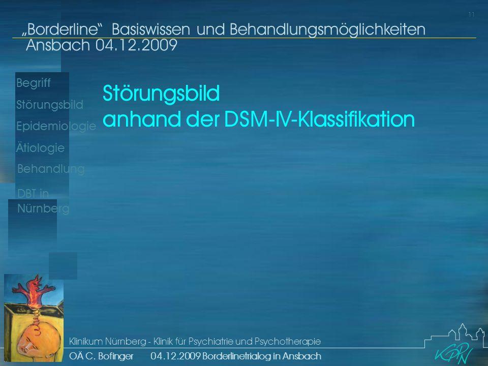 Störungsbild anhand der DSM-IV-Klassifikation