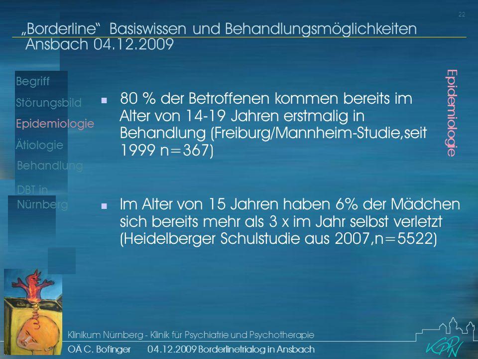 80 % der Betroffenen kommen bereits im Alter von 14-19 Jahren erstmalig in Behandlung (Freiburg/Mannheim-Studie,seit 1999 n=367)