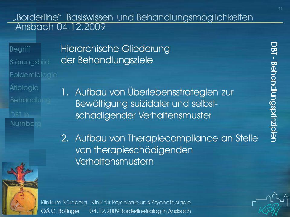 Hierarchische Gliederung der Behandlungsziele