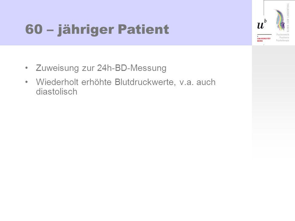 60 – jähriger Patient Zuweisung zur 24h-BD-Messung