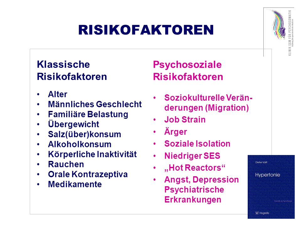 RISIKOFAKTOREN Psychosoziale Klassische Risikofaktoren Risikofaktoren