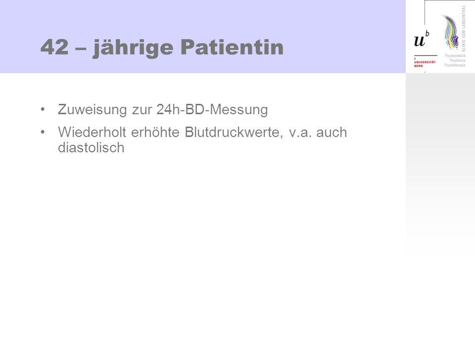 42 – jährige Patientin Zuweisung zur 24h-BD-Messung