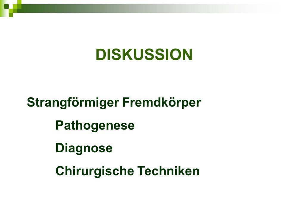 DISKUSSION Strangförmiger Fremdkörper Pathogenese Diagnose