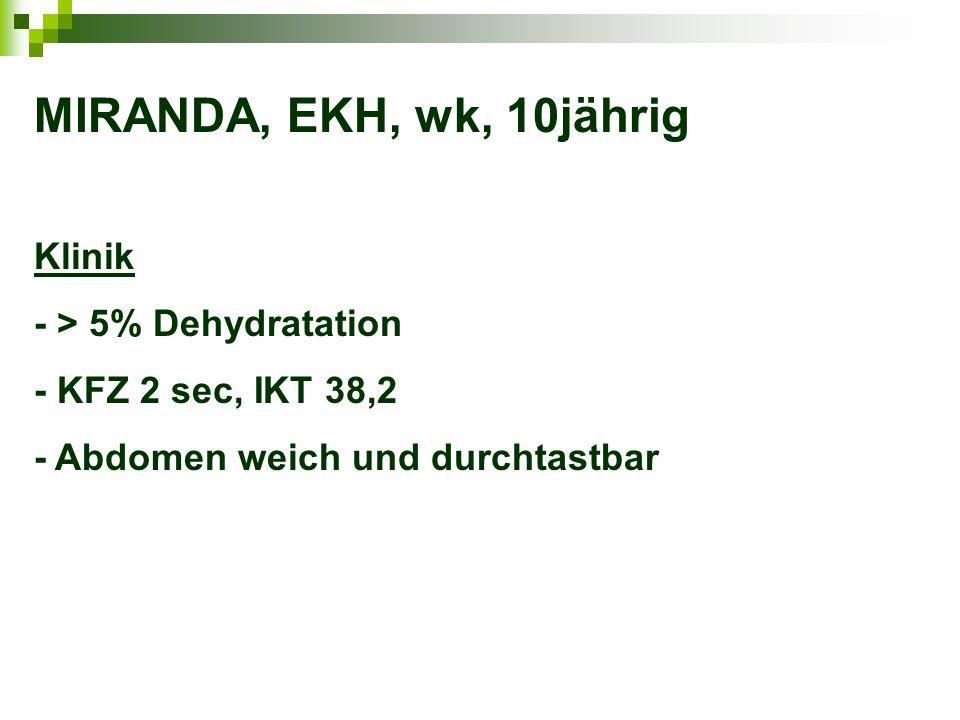 MIRANDA, EKH, wk, 10jährig Klinik - > 5% Dehydratation