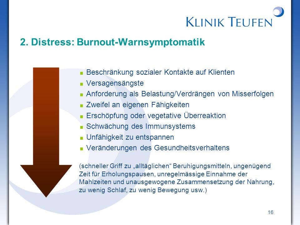 2. Distress: Burnout-Warnsymptomatik