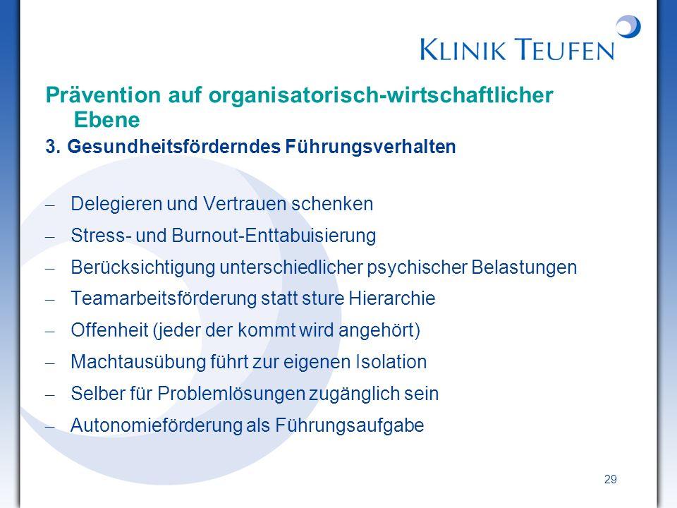 Prävention auf organisatorisch-wirtschaftlicher Ebene
