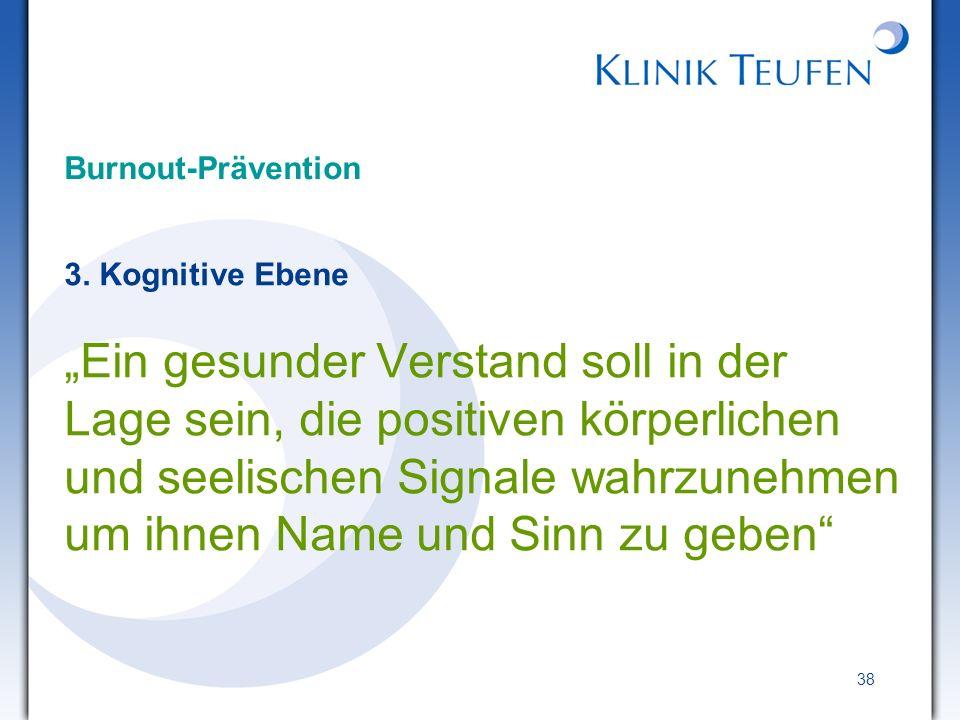 Burnout-Prävention 3. Kognitive Ebene.