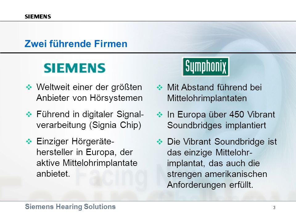 Zwei führende Firmen Weltweit einer der größten Anbieter von Hörsystemen. Führend in digitaler Signal- verarbeitung (Signia Chip)