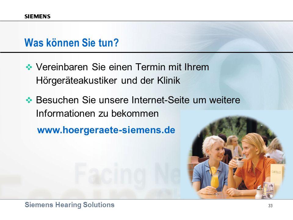 Was können Sie tun Vereinbaren Sie einen Termin mit Ihrem Hörgeräteakustiker und der Klinik.