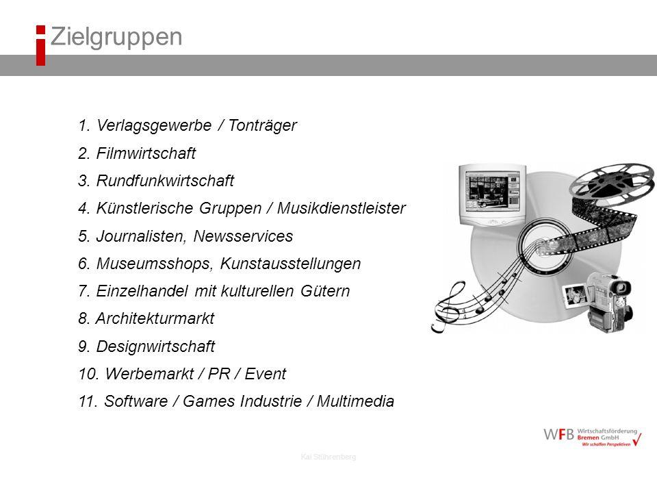 Zielgruppen 1. Verlagsgewerbe / Tonträger 2. Filmwirtschaft