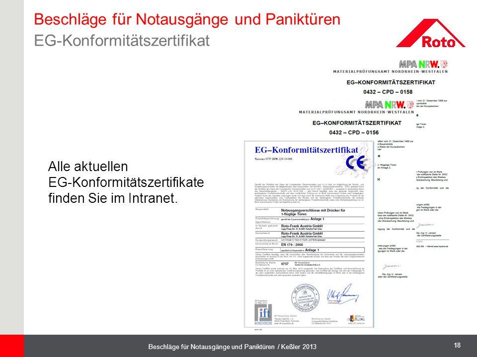 Beschläge für Notausgänge und Paniktüren EG-Konformitätszertifikat