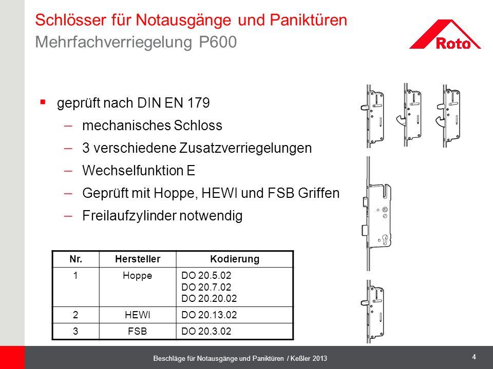 Schlösser für Notausgänge und Paniktüren Mehrfachverriegelung P600