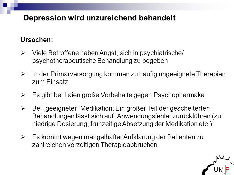 Depression wird unzureichend behandelt