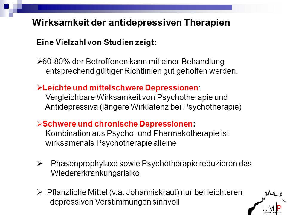 Wirksamkeit der antidepressiven Therapien