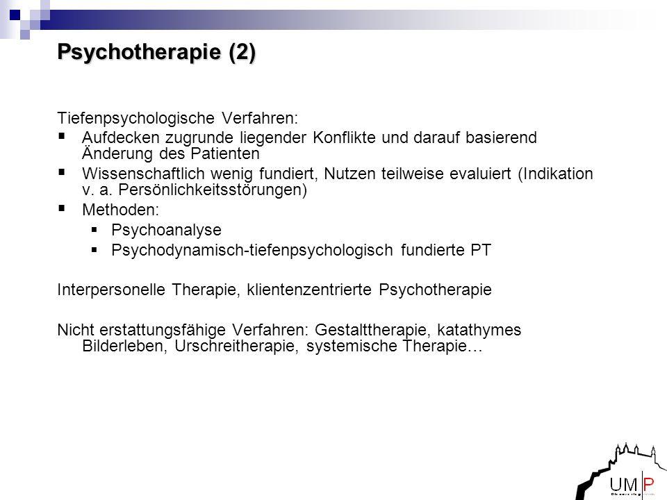 Psychotherapie (2) Tiefenpsychologische Verfahren: