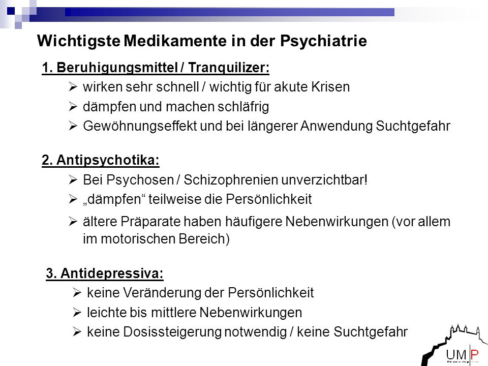 Wichtigste Medikamente in der Psychiatrie