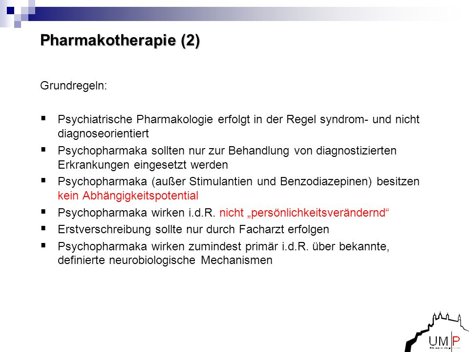 Pharmakotherapie (2) Grundregeln: