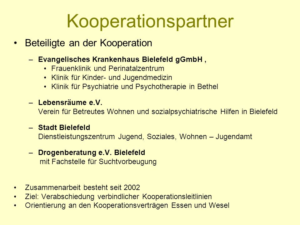 Kooperationspartner Beteiligte an der Kooperation