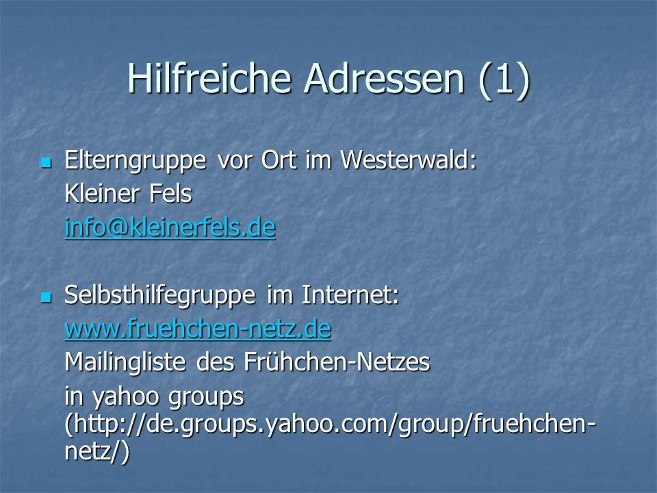 Hilfreiche Adressen (1)