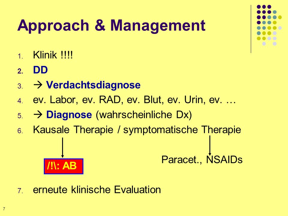 Approach & Management Klinik !!!! DD  Verdachtsdiagnose
