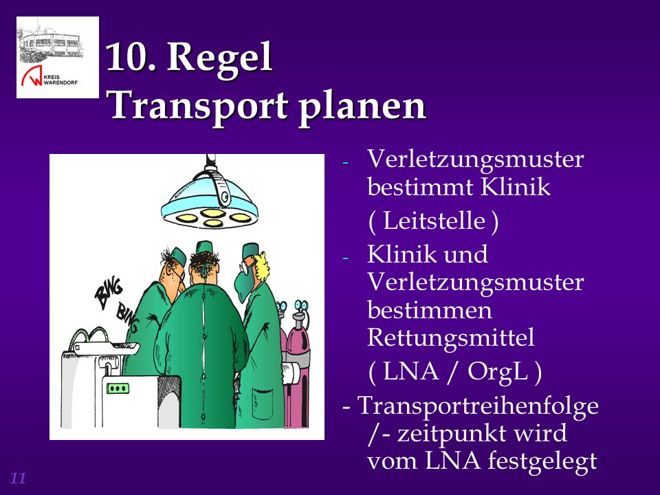 10. Regel Transport planen