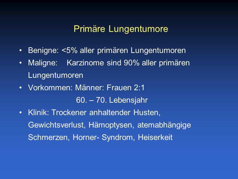 Primäre Lungentumore Benigne: <5% aller primären Lungentumoren