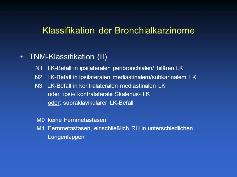 Klassifikation der Bronchialkarzinome