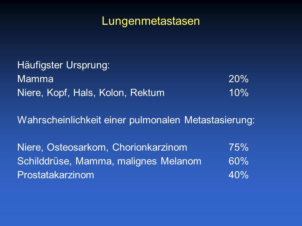 Lungenmetastasen Häufigster Ursprung: Mamma 20%