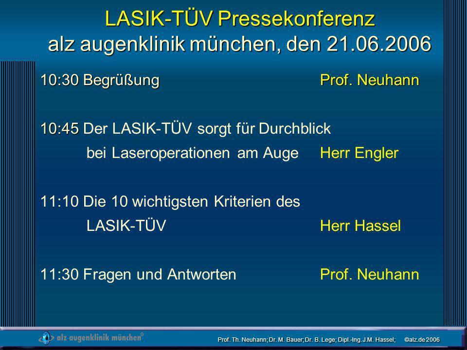 LASIK-TÜV Pressekonferenz alz augenklinik münchen, den 21.06.2006
