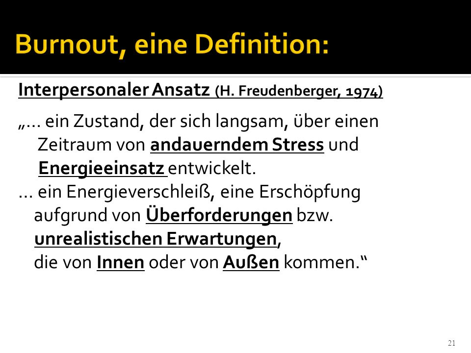 Burnout, eine Definition: